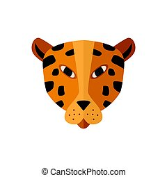 Leopard head icon in flat design