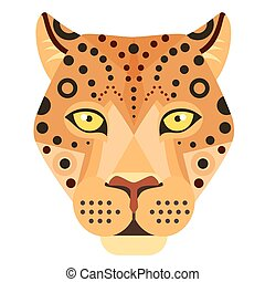 Leopard Head Logo. Cheetah Vector decorative Emblem.