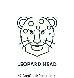 Leopard head vector line icon, linear concept, outline sign, symbol