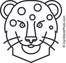 leopard head vector line icon, sign, illustration on background, editable strokes