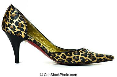 leopard high heeled shoe on white background