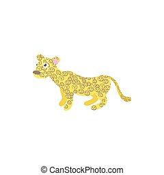Leopard icon in cartoon style