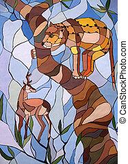 leopard, in, wartezeit, angriff, a, tree-mosaic
