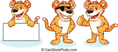 Leopard Mascot Vector happy