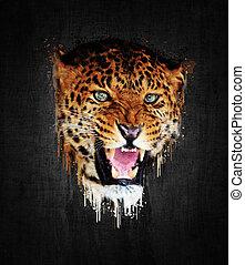 Leopard. Paint effect