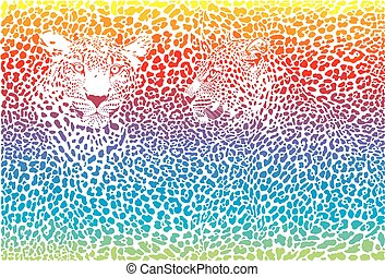 Leopard rainbow color pattern background