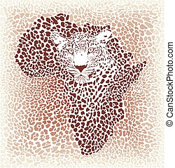 Leopard seamless pattern, vector illustration background with Africa map
