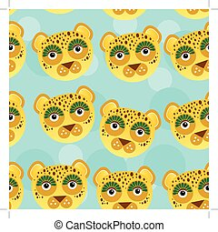 Leopard Seamless pattern with funny cute animal face on a blue background