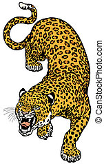 leopard tattoo illustration isolated on white background