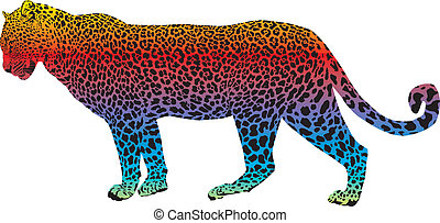 Leopard - vector abstract rainbow