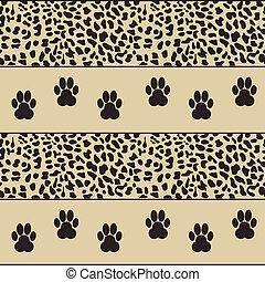 leopard, vektor, pfoten, hintergrund