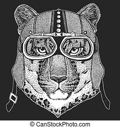 Leopard, wild cat, panther, puma, jaguar. Vintage motorcycle hemlet. Retro style illustration with animal biker for children, kids clothing, t-shirts. Fashion print with cool character. Speed and freedom.