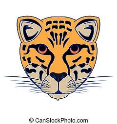 Leopard wildlife animal head cartoon isolated blue lines