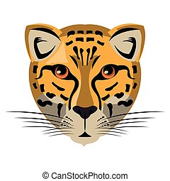 Leopard wildlife animal head cartoon isolated
