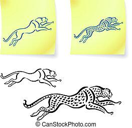 leopardo, él, dibujos, jaguar, poste, notas