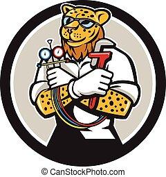 leopardo, calefacción, especialista, mecánico, círculo, caricatura