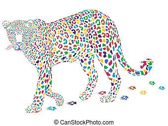 leopardo, colorido, más