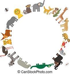leopardo, lémur, mono, texto, africa:, hiena, zebra, redondo...