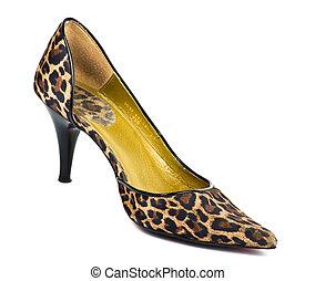 leopardo, scarpa sbandata ed alta