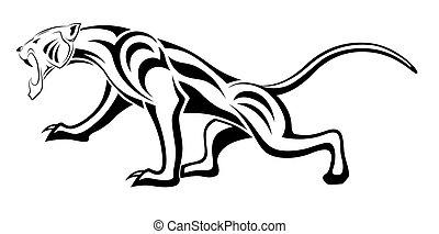leopardo, tribal, tatuaje