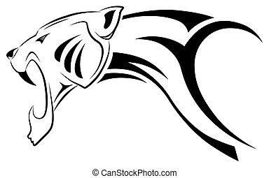 leopardo, vector, tribal, tatuaje