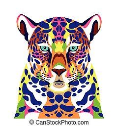 leopardo, vita, selvatico, icona, technicolor