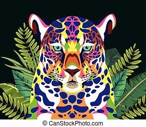 leopardo, vita, selvatico, technicolor, mette foglie, piante