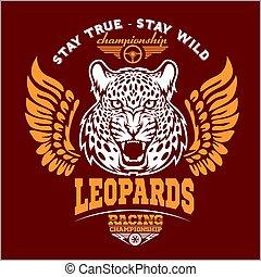 Leopards - custom motors club t-shirt vector logo on dark background. Premium quality bikers band logotype t-shirt emblem illustration.