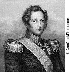 Leopold, Grand Duke of Baden (1790-1852) on engraving from ...