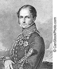 Leopold I of Belgium (1790-1865) on engraving from 1859. ...