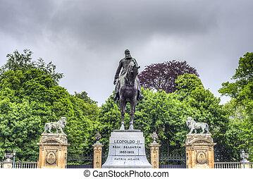 Leopold II statue in Brussels, Belgium.