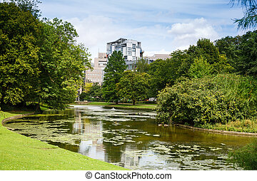 Leopold park in Brussels - Leopold park with pond and trees ...