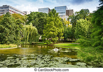Leopold park in Brussels - Leopold park with pond, trees and...