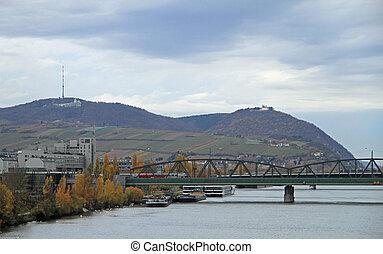 Leopoldsberg and riverside of Danube in Vienna