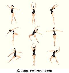 leotard, ballerina, balletto, classico, ballo, set, giovane, illustrazione, vettore, sfondo nero, professionale, bianco, ballerino
