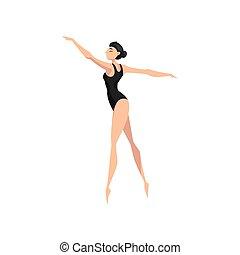 leotard, ballerina, ballo, giovane, illustrazione, vettore, sfondo nero, professionale, bianco