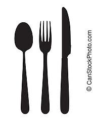 lepel, vork, mes