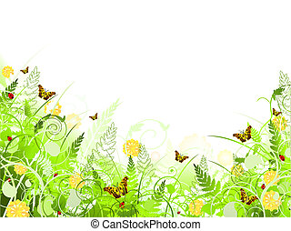 lepke, ábra, virágos, kavarog, keret, lombozat