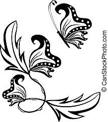 lepke, elvont, virág, kép