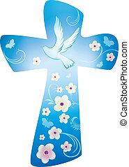 lepke, kék, keresztény, -, kereszt, háttér, menstruáció, galamb