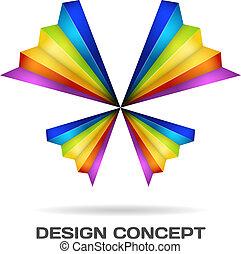 lepke, sokszínű, fogalom, tervezés