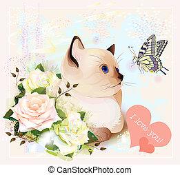 lepke, valentines, köszönés, agancsrózsák, cica, nap, kártya