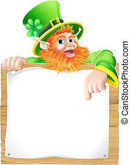 Leprachaun sign - An illustration of a St Patricks day...