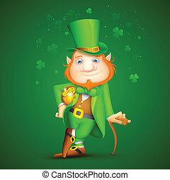 Leprachaun - illustration of Leprechaun with walking stick...