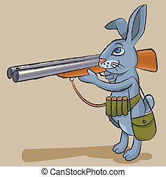 lepre, cacciatore, -