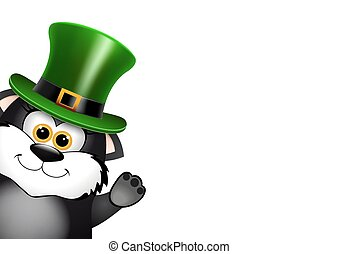 leprechaun, ねこ, patricks, 黒, 聖者, hat., デザイン, 日, カード