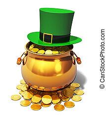leprechaun, ポット, 緑, 金, 帽子
