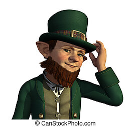 Leprechaun About to Tip His Hat - A friendly leprechaun tips...