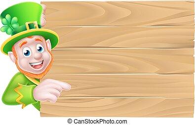 leprechaun, af træ, tegn
