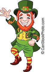 leprechaun, afortunado, bailando